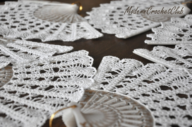 Crochet hand fans