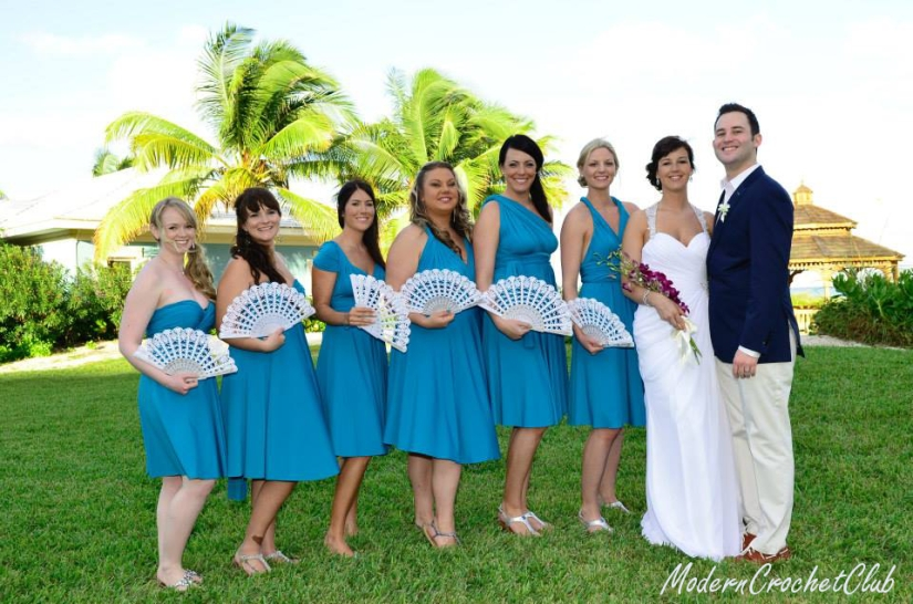 Bridesmaids with hand fans