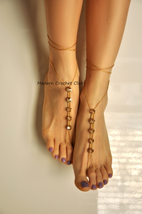 Gold Swarovski Crystals Barefoot Sandals