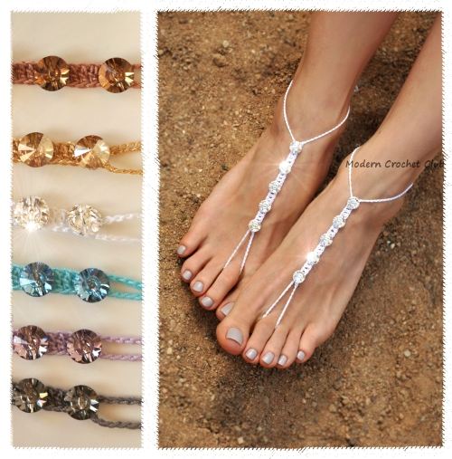 Crystalized Swarovski Elements Barefoot Sandals